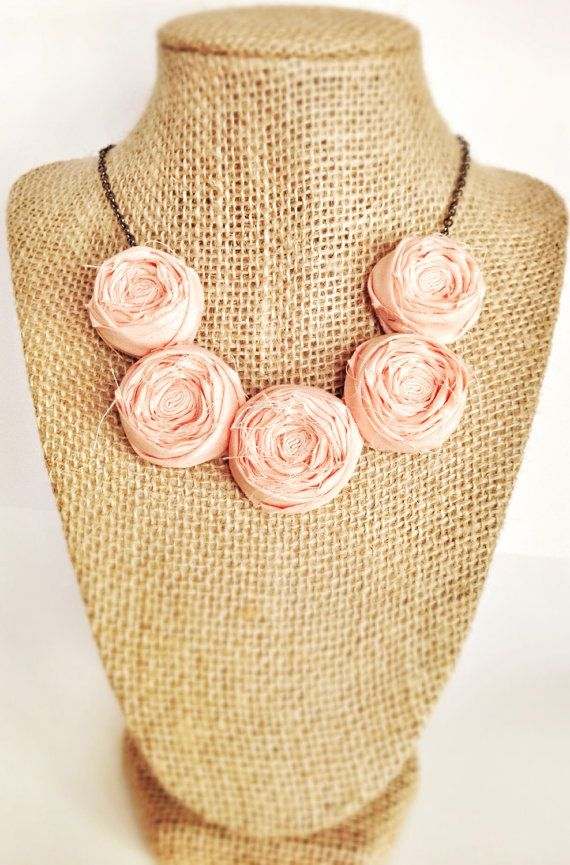 Peach Tea Rosette Necklace by LittlePixieCrafts on Etsy