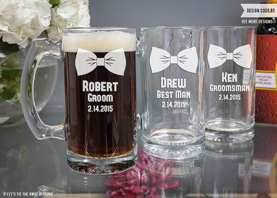 Personalized Groomsmen Gift - (ONE) Beer Mug 12 oz - Custom Engraved Beer Glass - Personalized Beer Mug - Wedding Gift - Bridal Party Gift - Let's Tie The Knot on Etsy
