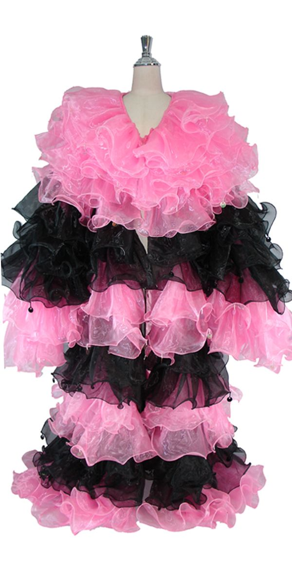 Long Organza Ruffle Coat with Long Sleeves and Highlight Sequins in Pink and Black.