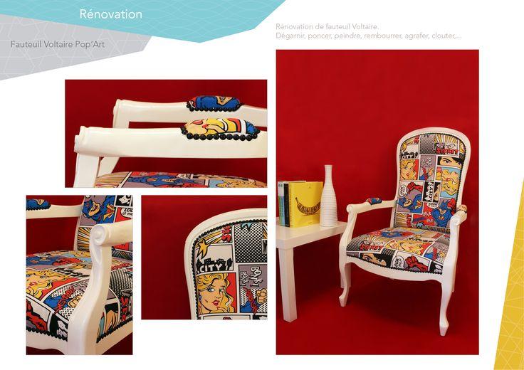 Rénovation fauteuil voltaire pop art. Tapisserie