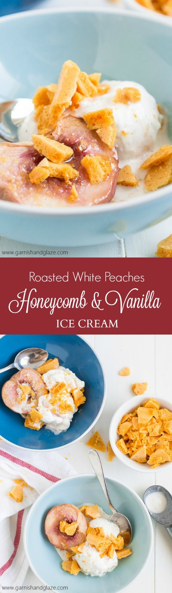 Enjoy the sweetness of summer with a bowl of Roasted White Peaches with Honeycomb and Vanilla Ice Cream! @Breyers #Breyers150 #ad