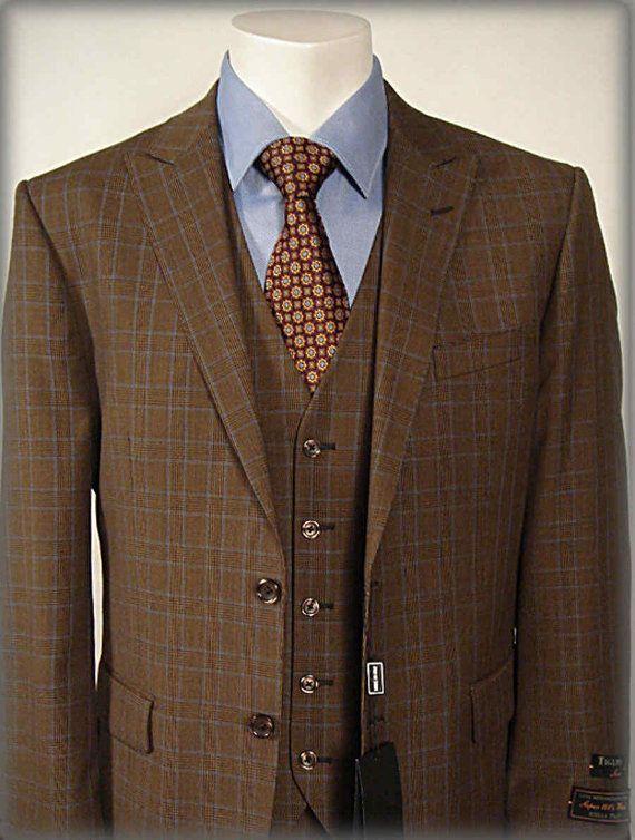 fait mesure luxe d volu costume marron bleu vitre slim fit 3 pi ce costumes pour hommes. Black Bedroom Furniture Sets. Home Design Ideas