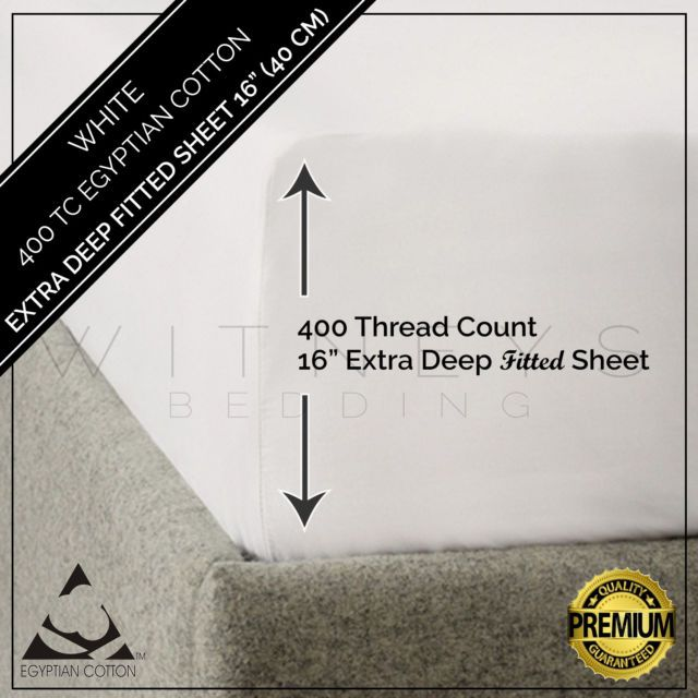 """Egyptian Cotton 400 Thread Count Extra Deep Fitted Sheet 16"""" / 40 cm All Sizes 