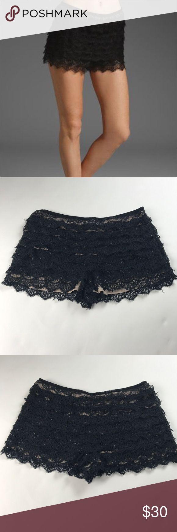 Haute Hippie Black Crochet Shorts 100% Mylar. Side zipper Haute Hippie Shorts