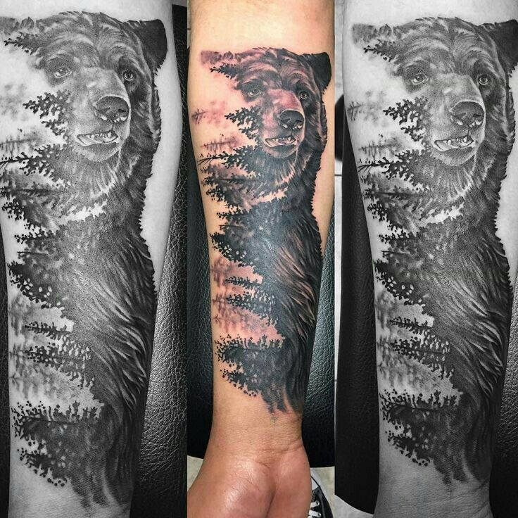 Nature/Bear Tattoo - Maybe with a wolf instead