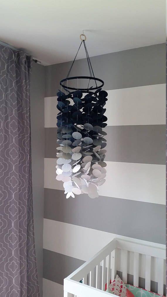 Mobile En Papier Marine Gris Et Blanc Chambre De Bebe Garcon Decoration Pour Chambre D Enfant Mobile Decoratif En Papier Decor Paper Mobile Room
