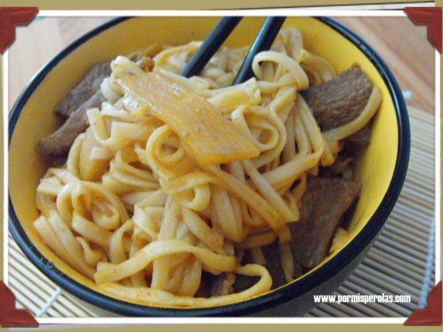 Udon con ternera teriyaki  #recetas #ternera #cocina_oriental