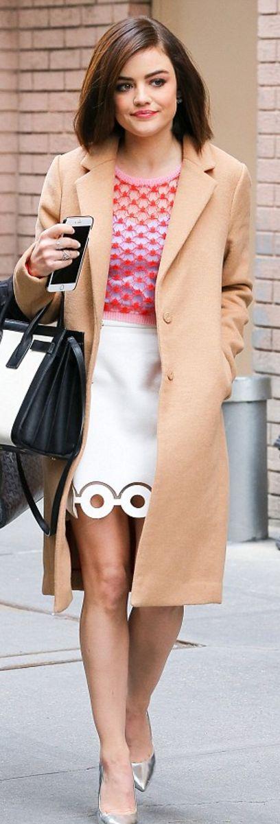 Who made Lucy Hale's white circle skirt, jewelry, black handbag, tan handbag, and red sweater?