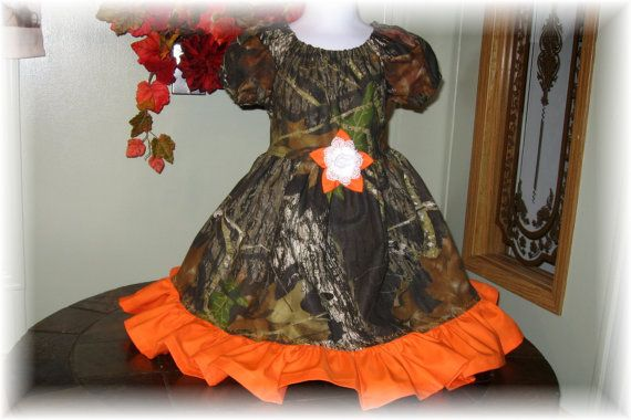 Girl's Camo Flower Girl Dress. Girls Peasant by YogiBearlySewing