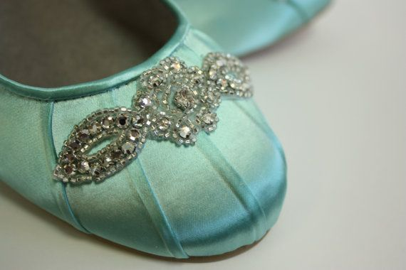 For your something blue! Wedding Shoes - Ballet Flats - Tiffany Blue - Crystals - Flats - Shoes - Handmade Wedding - Tiffany Blue Wedding - Choose Over 100 Colors
