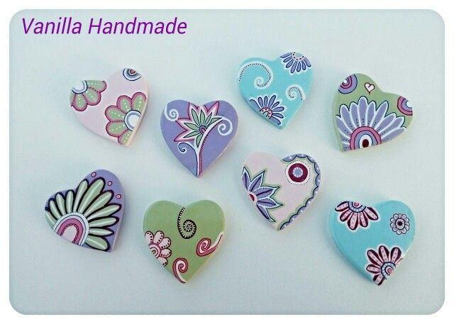 Ceramic hearts - Magnets by Vanilla Handmade https://m.facebook.com/vanillahandmade/
