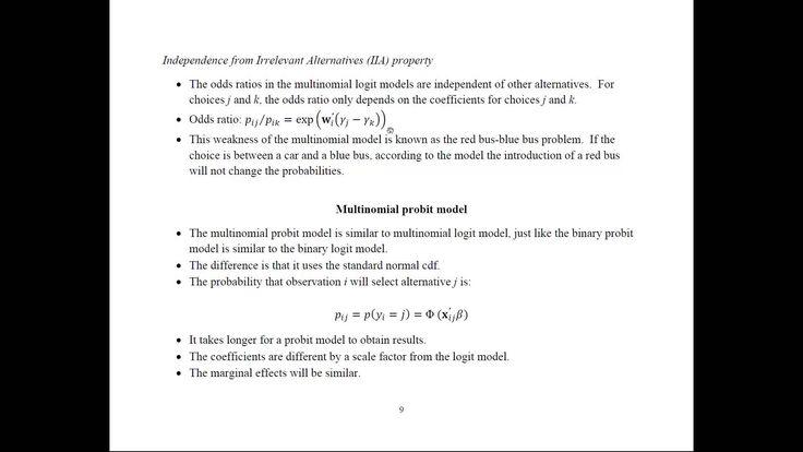 Econometrics - Multinomial Probit and Logit Models