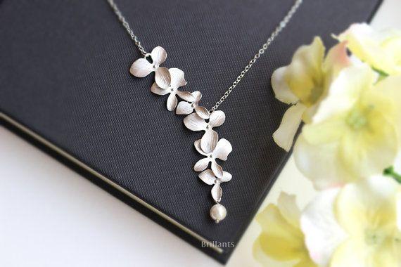 1 Unids Nueva Moda Elegante de Orquídeas de Flores Colgantes de Oro Plateado Plata de La Flor Collar de la Joyería Del Encanto de Mujeres Accesorios de Regalo