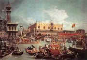Rialto Bridge from the South  by (Giovanni Antonio Canal) Canaletto