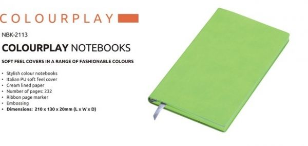A5 Colour Play Notebook Colour Play Notebook Stylish Colour Notebook Italian PU Soft Feel Cover Cream Lined Paper Number of Pages : 232 Ribbon Page Marker Brand by Embossing  Dimensions : 210 × 130 × 20 (L x W x D) Lime Colour