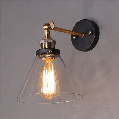 Vintage Industrial Modern Contemporary Glass Sconce Funnel Wall Lights Wall Lamp