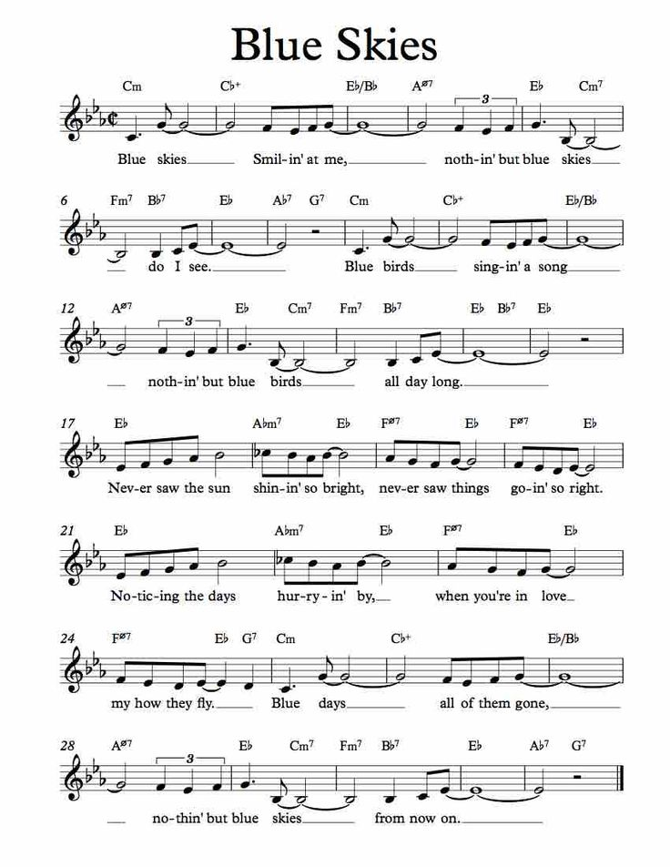 Free Sheet Music for Blue Skies by Irving Berlin. Enjoy!