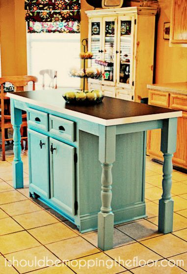 Upcycled kitchen island with a table - brilliant idea - I would also have shelves for recipe books: Islands Transformers, Decor Kitchens, Diy Kitchens, Picket Fence, Floors Kitchen, Kitchens Ideas, Kitchens Islands, Old Cabinets, Kitchen Islands