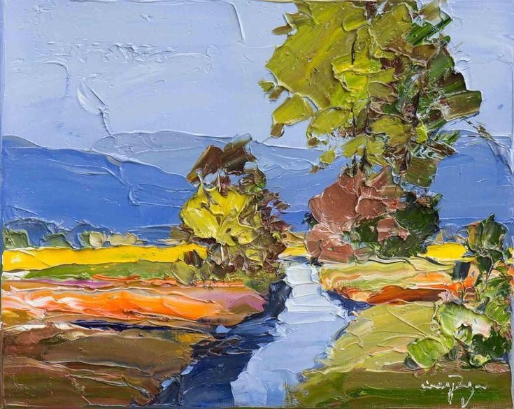 Artwork Name: Riverside Meadow. Artist: Erich Paulsen. Size: 12 x 10. Medium: Oil on Canvas.