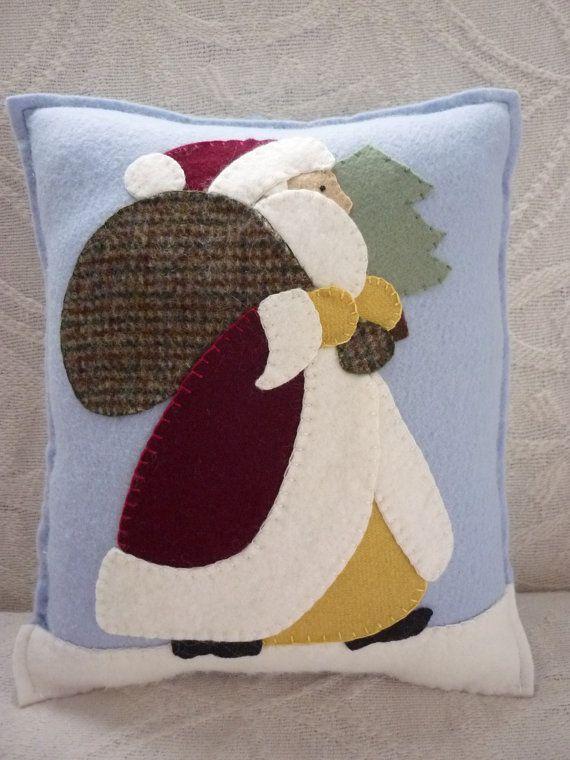 Applique Santa Pillow Christmas Wool Felt от pennysbykristie