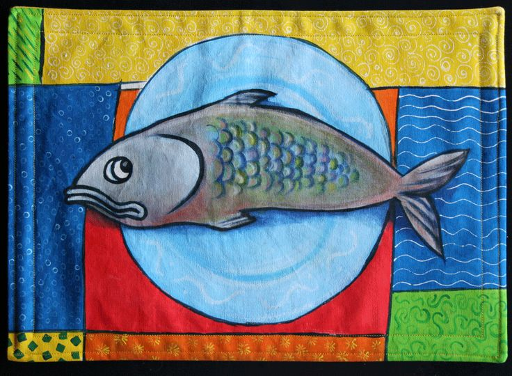 Handpainted fabric placemat 01 by E.Hurni