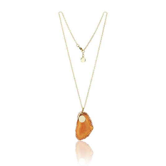Amber Agate Stone Necklace