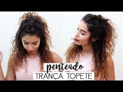PENTEADO MEIO PRESO COM TRANÇA TOPETE PARA CABELOS CACHEADOS - YouTube