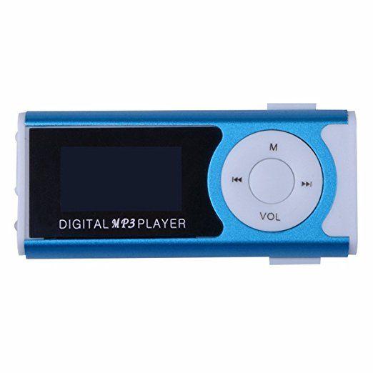 Mini Lettore MP3 Clip USB di sostegno dello schermo LCD per 16GB micro SD (blu)