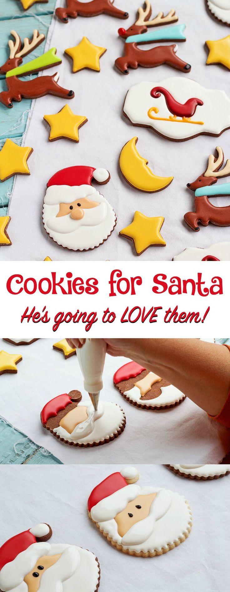 Christmas Cookies for Santa Sinmple Decorated Santa Sugar Cookieswww.thebearfootbaker.com