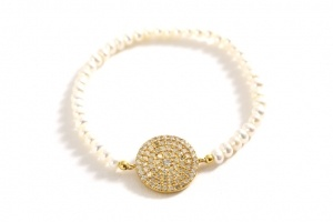 PEARL AND PAVE DISC BRACELET by karenegren.com