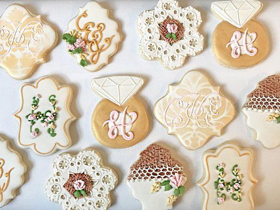 Galletas de la boda del monograma favorece la cookie de