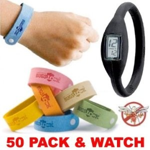 50 (FIFTY) PACK Bugslock - PLUS FREE WATCH - Wholesale Lot of Bugslock Mosquito repellent wrist band bracelet. This citronella wristband repels mosquitoes quickly. Bugs Lock Bracelet Wrist bands adjustable for kids, small children, and adults