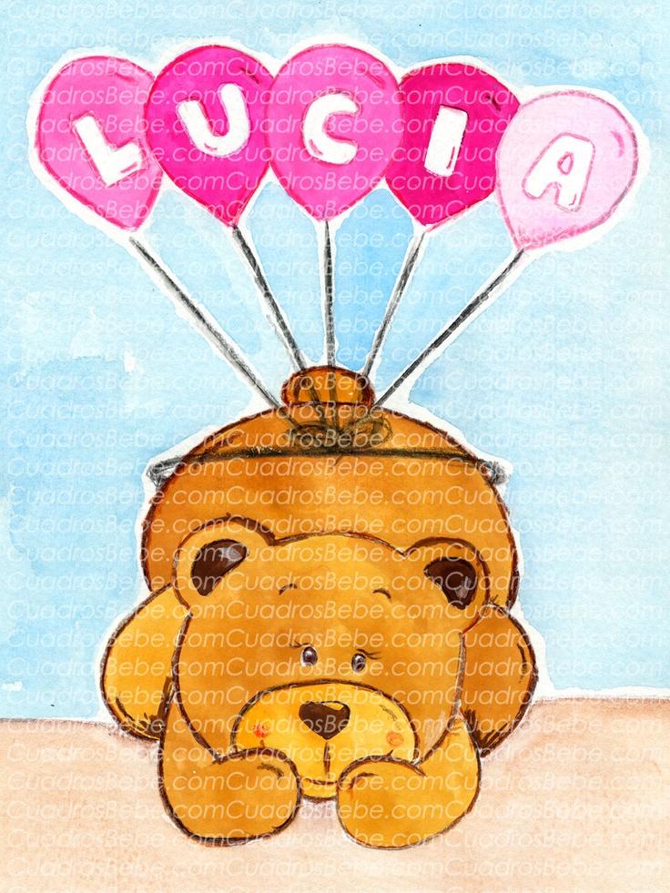Cuadro bebe letras con nombre escritas en los globos que for Cuadros habitacion bebe