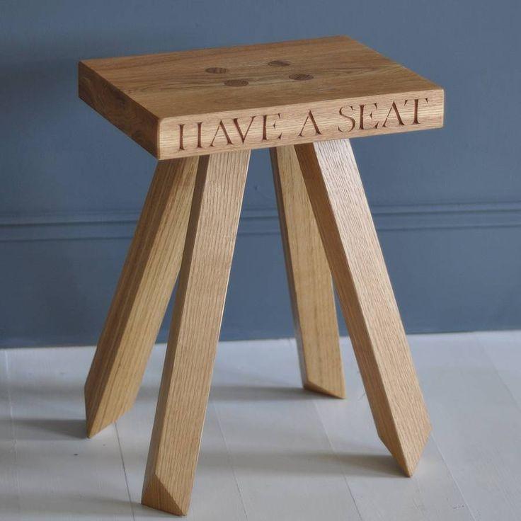 'have a seat' oak stool by the oak & rope company | notonthehighstreet.com