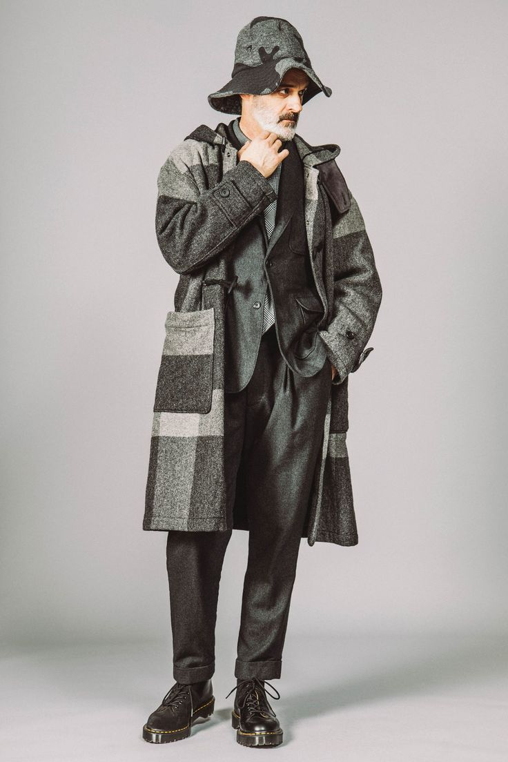Engineered Garments Fall 2017 - Large plaid duffle coat teamed up with a tailored pant and what potentially could be the next Engineered Garments x Dr Martens.
