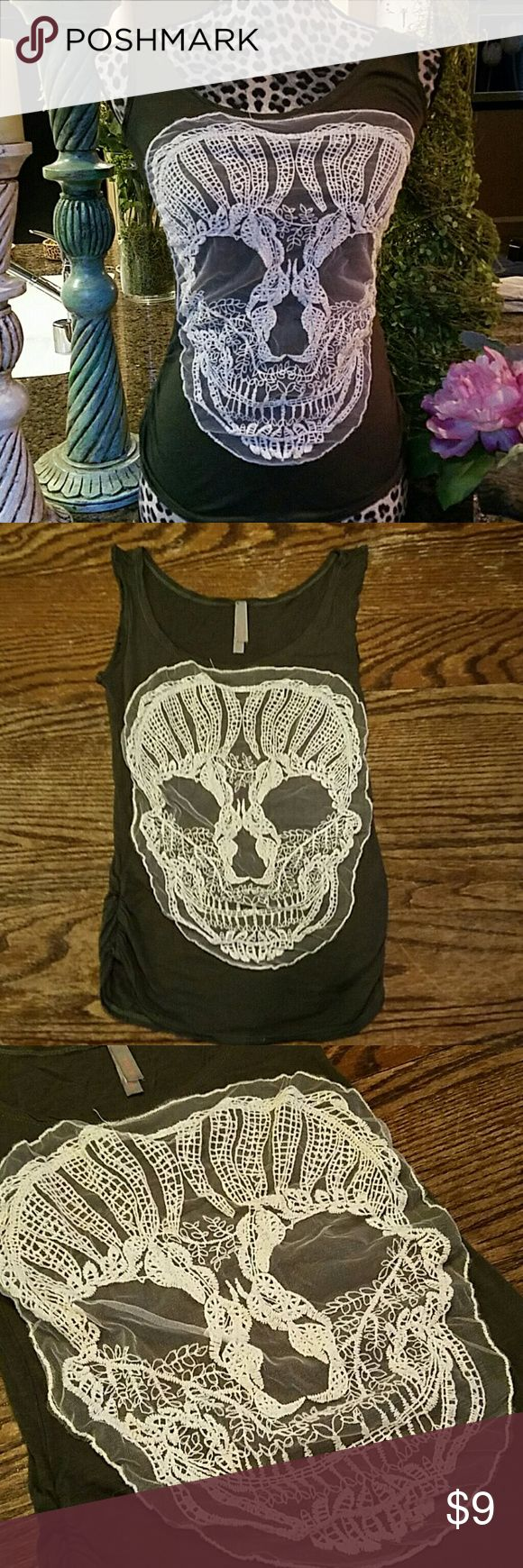 Skull Tank Embroidered skull design, ruching on sides of blouse.  Runs small. Jesse & J Tops Tank Tops