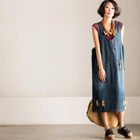 Vintage Borken Hole Cowboy Dress A-Style Clothes Q2905A