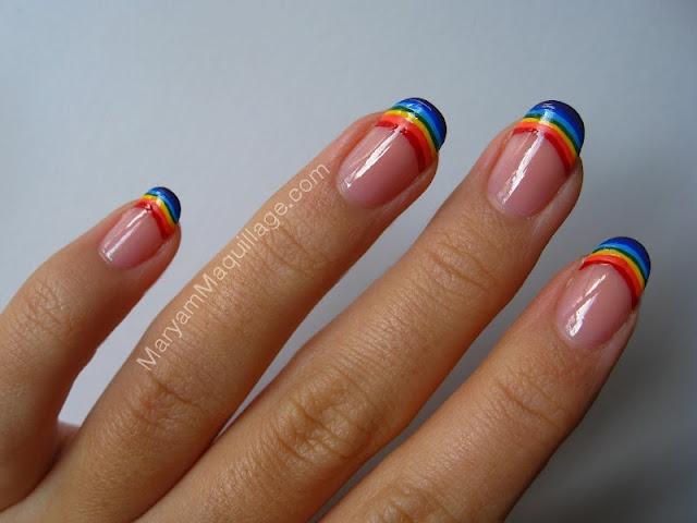 Rainbow French manicureNails Art, Fashion Ideas, Nails Design, French Manicures, Rainbows French, Pretty Nails, Happy Nails, Nails Polish, Rainbows Nails