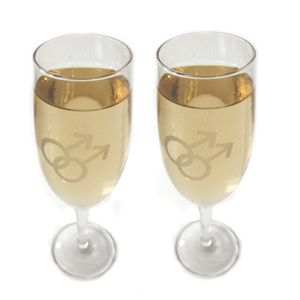 Gay Symbol Champagne Flutes for Gay Wedding from ThatGaySite.com