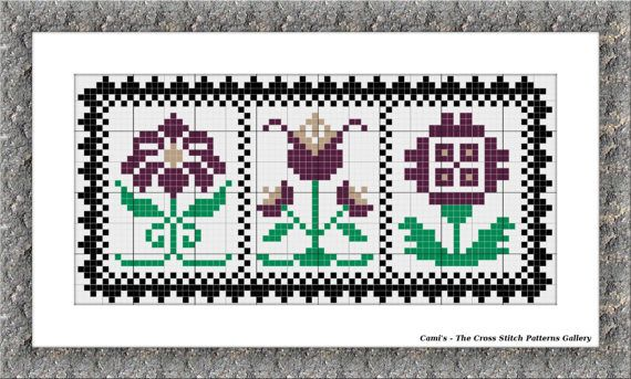 Trio floral cross stitch pattern Floral by CamisTheCrossStitch