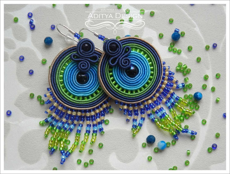 ROUND PAVONE - very colorful handmade soutache earrings.