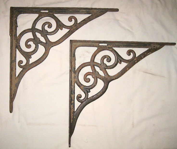 Pair of Antique Cast Iron Bracket Corner Shelf Corbel #unknown