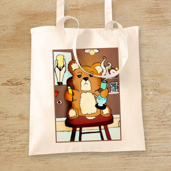 Tote Bag Ted the Bong Smoking Bear Weed Drug by WhiteoutFashion