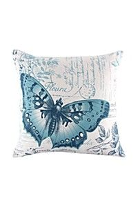 PRINTED BUTTERFLY SCRIPT 45X45CM SCATTER CUSHION COVER