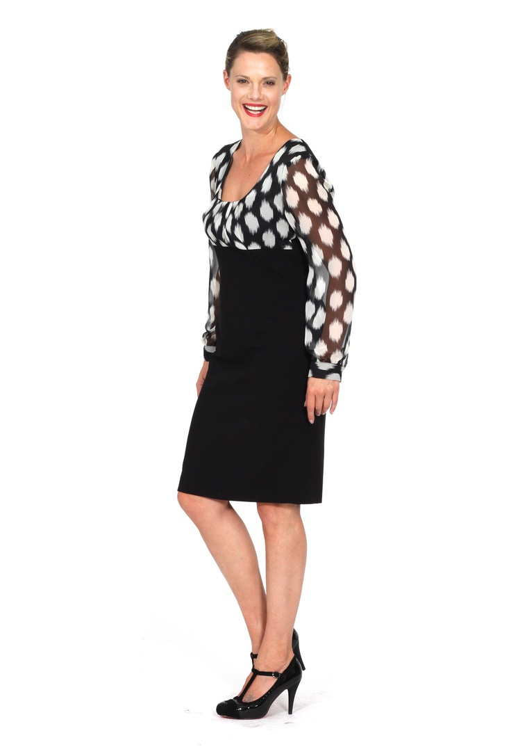 Redhead Office - Brush Stroke Crepe Dress. This is the ideal work dress. The spotty bodice and sleeves are very feminine and flattering on any figure shape. The empire line creates a wearable silhouette.
