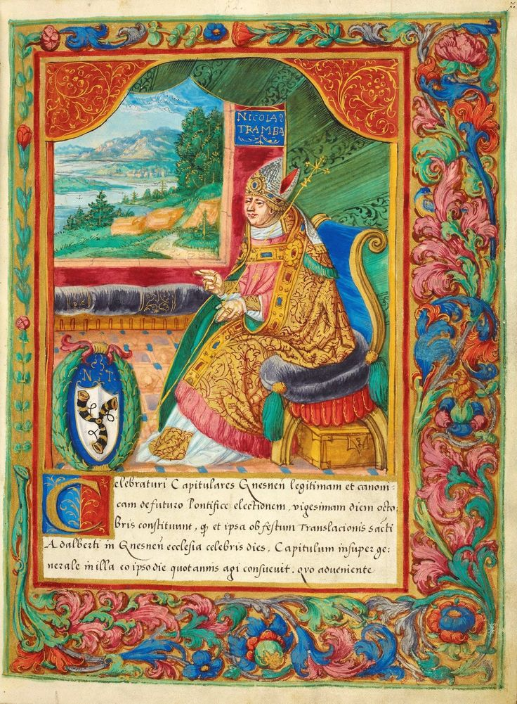A leaf from the Catalogue of the Archbishops of Gniezno by Stanisław Samostrzelnik, 1530-1535 (PD-art/old), Biblioteka Narodowa, commissioned by Bishop Piotr Tomick