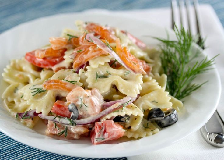 Salmon Pasta Salad with Dill. I tried this today but without dill and olives.