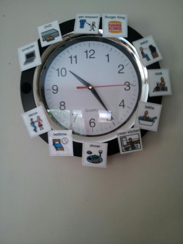 PECS picture Clock. This is how we keep to schedule =)