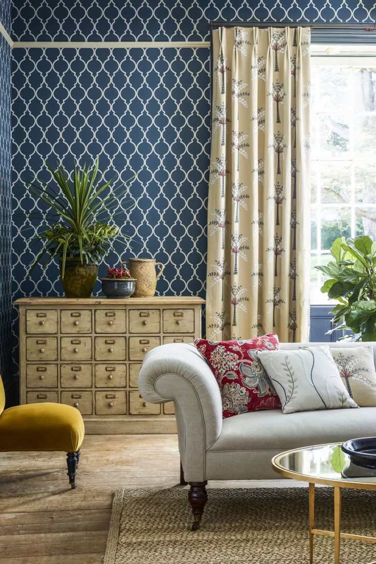 Gorgeous Empire Trellis wallpaper design in indigo.