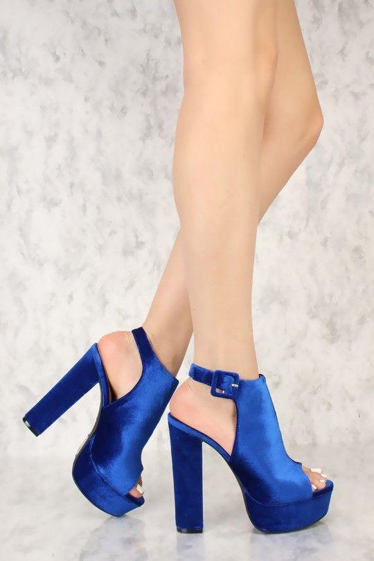e00f377fca0 Royal Blue Peep Toe Platform Pump Chunky High Heels Faux Velvet ...